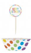 24 Moules à cupcakes et pics anniversaire coloré 5 x 3 cm