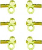 6 Mini pinces avec sucettes vert anis
