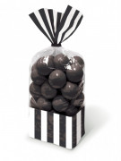 10 Sachets plastique transparent rayés noir et blanc