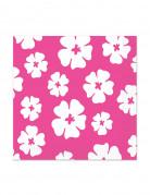 16 Petites Serviettes en papier Hibiscus Rose 25 x 25 cm