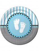 8 Assiettes en carton Pieds bleus 23 cm
