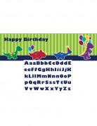 Bannière anniversaire personnalisable Petits dinosaures 50 x 150 cm