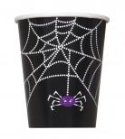 8 Gobelets en carton Toile d'araignée Halloween 255 ml