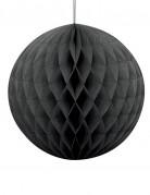 Boule en papier alvéolé noir 20 cm