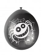 10 Ballons en latex araignées Halloween noirs et oranges 30 cm