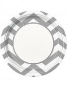 8 Assiettes argentées en carton chevrons 22 cm