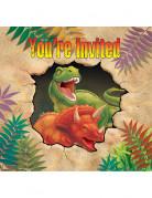 8 Cartes d'invitation anniversaire Dinosaures 10 x 12 cm