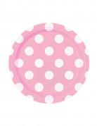 8 Petites assiettes rose clair à pois blancs en carton 17 cm