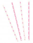 10 Pailles en carton rose clair à pois blancs 21 cm