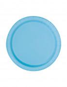 20 Petites assiettes en carton bleues pastel 17 cm