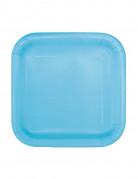 16 Petites assiettes carrées en carton bleu pastel 17 cm