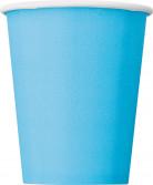 8 Gobelets bleu pastel en carton 270 ml