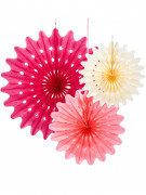 3 Suspensions rosaces pastel