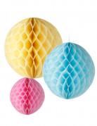 3 Suspensions boules papier jaune, bleu et rose