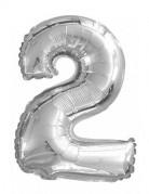 Ballon aluminium chiffre 2 argenté 35 cm