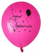 8 Ballons Joyeux anniversaire fuschia