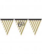 Guirlande à fanions noir et or 60 ans 3,7m