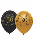 6 Ballons Noir et or 30 ans