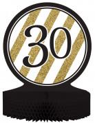 Centre de table en papier alvéolé 30 ans noir et doré 23 x 30 cm