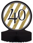 Centre de table en papier alvéolé 40 ans noir et doré 23 x 30 cm