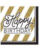 16 Serviettes en papier Happy Birthday noir et or 33 cm