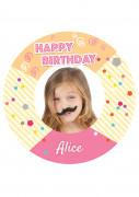 Disque en sucre personnalisable Fiesta Happy Birthday 20 cm