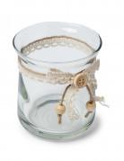 Pot en verre avec lien dentelle et ficelle 9 cm