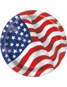 8 Assiettes en carton drapeau USA 22 cm