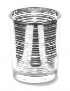 Photophore en verre à rayures argentées