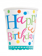 8 Gobelets en carton Happy Birthday turquoise 270 ml