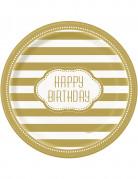8 Assiettes en carton anniversaire doré 23 cm
