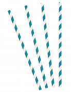 10 Pailles rayées turquoise