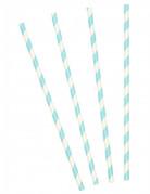 10 Pailles en carton rayées turquoises