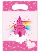 6 Sacs cadeaux en plastique Château de princesse