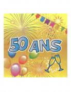 20 Serviettes en papier 50 ans Anniversaire Fiesta 33 cm