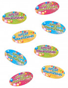 80 Confettis de table Joyeux Anniversaire Fiesta 4 x 2 cm