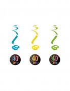 4 Suspensions spirales 40 ans feux d'artifice 60 cm