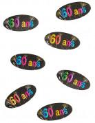 80 Confettis de table en papier 60 ans feux d'artifice 4 x 2 cm