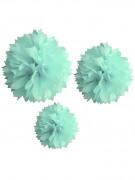 3 Pompons menthe en papier 20, 30 et 40 cm