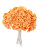 72 Mini roses satin pêche 1 x 8 cm