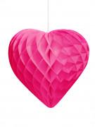 Cœur en papier alvéolé fuchsia 30 cm