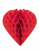 Cœur en papier alvéolé rouge 30 cm