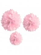 3 Pompons en papier rose 20, 30 et 40 cm