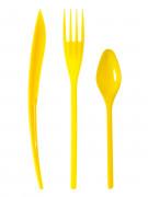 30 Couverts en plastique jaune - Premium