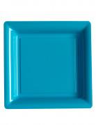 12 Assiettes carrées en plastique turquoise 23,5 cm