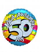 Ballon aluminium holographique 50 ans 46 cm