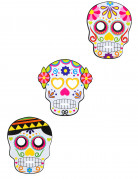 3 Masques en cartons assortis Dia de los muertos adulte Halloween