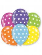 6 Ballons étoiles multicolores