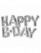 Ballon aluminium lettres Happy Birthday argent 76 cm