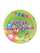 6 Petites Assiettes carton anniversaire Fiesta 18 cm